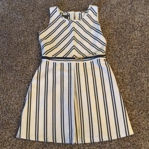 Navy and White Covington A-Line Dress